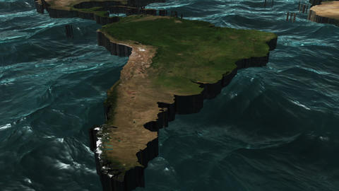 3D World Map Pan to South America Stock Video Footage