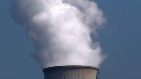 10695 smoke cooling tower Stock Video Footage