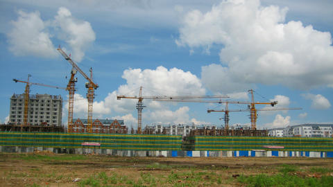 Construction Timelapse With Clouds Stock Video Footage