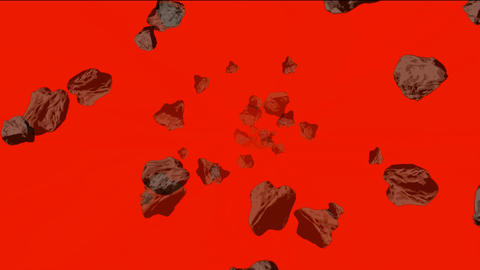 Meteorite and stone tumbling in space Stock Video Footage