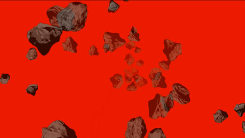 Meteorite and stone tumbling in space Animation