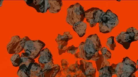 Meteorite tumbling and 3d rolling stone in universe Animation