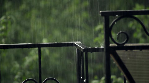 Hammered fence under the rain Stock Video Footage