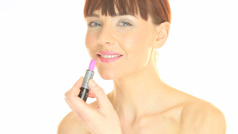 Woman Applying Lipstick Stock Video Footage