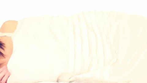 woman sleeping wearing a tank top Stock Video Footage