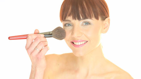 Beautiful Woman Applying Make-up Stock Video Footage