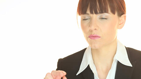 woman wearing a blazer cracking her fingers Stock Video Footage