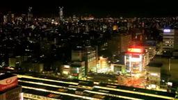 JR中野駅とJR中央線の電車と新宿新都心 夜景 Footage
