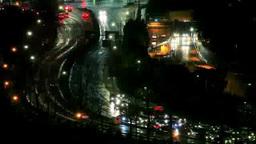 雨に濡れた内堀通りと自動車のヘッドライト 夜景 Footage