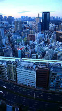 JR水道橋駅と丸の内方向のビル群 夜景から朝 Footage