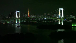 レインボーブリッジと東京タワーと船と夜景 Footage