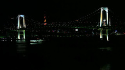 レインボーブリッジと東京タワーの夜景とフェリー Footage