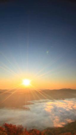 朝日と雲海と聖山などの山並みと紅葉の樹林 영상물