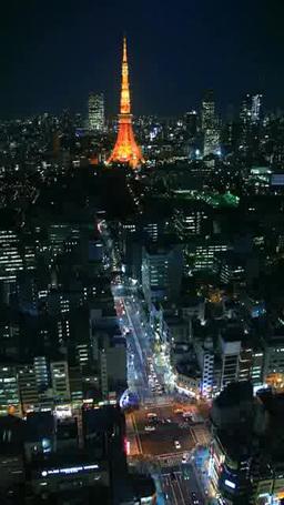 東京タワーと浜松町の街並と大門交差点の夜景 영상물