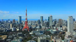 Tokyo Tower and buildings in central Tokyo Footage
