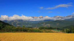 Countryside with rice growing and northern alps such as Shiroumadake Footage