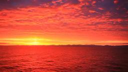 Morning Glow On The Ocean, Awashima Island, Mount Chokaisan And Asahi Mountain R stock footage