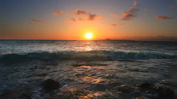 Ieshima Island, sunset and lopping wave Footage
