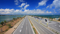 Mid Sea Road on the side of main island seen from the footbridge of Road Park Footage