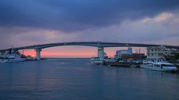 Tomari Port, Tomariohashi Bridge, And Sunset stock footage