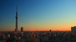 東京スカイツリーと錦糸町方向の街並と朝日 Footage