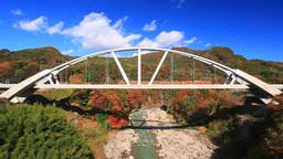 長野原めがね橋から望む第三吾妻川橋梁と電車と紅葉の吾 Footage