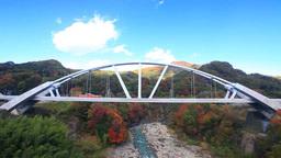 長野原めがね橋から望む第三吾妻川橋梁とディーゼル車と Footage
