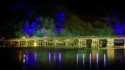Arashiyama Hana Touro, Illuminated Togetsukyo Bridge Footage