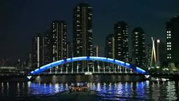 隅田川とリバーシティ21の夕景色 Footage