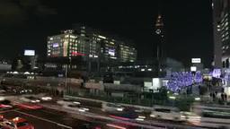 JR新宿駅南口前の夜景 Footage