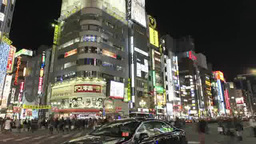 JR新宿駅東口周辺の夜景 Footage