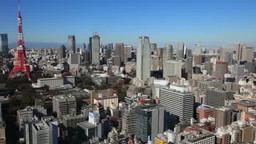 東京のビル街町並みと東京タワー Footage