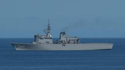 小笠原父島沖合の海上自衛隊掃海母艦「うらが」463号艦 Footage