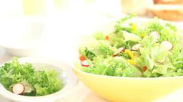 野菜サラダをサラダボールから皿に取り分ける Footage