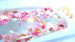 お湯に揺れるバラの花とキャンドル バラ風呂 Footage
