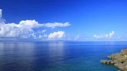 サンゴ礁と積乱雲と沖縄本島 Footage