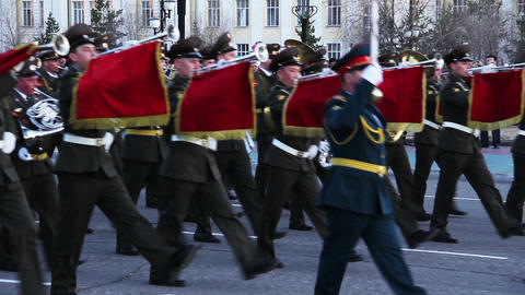 Military orchestra during parade Stock Video Footage