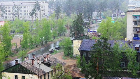 Snow of summer, footage taken in siberian city Stock Video Footage