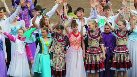 Children's ensemble welcomes the audience Stock Video Footage