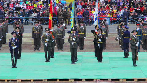 Russian officers demonstrates drill Stock Video Footage
