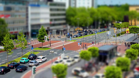 10699 city people walk tilt shift time lapse Stock Video Footage
