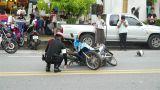 Policeman at the scene of motorbikes crash Footage
