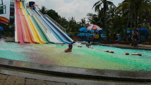 Waterslide in aquapark Stock Video Footage