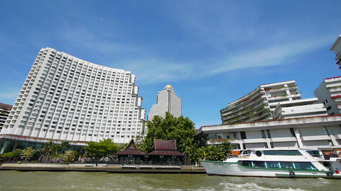 Bangkok, Thailand from river Stock Video Footage