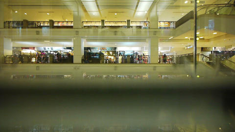 Shopping mall view from an elevator Stock Video Footage