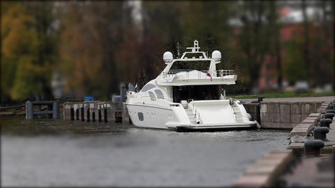 cruising motor yacht Stock Video Footage