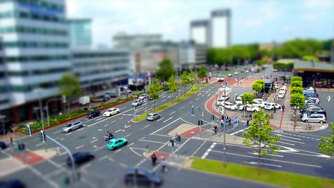 10701 city traffic 002 tilt shift time lapse Stock Video Footage
