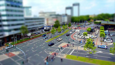 10701 city traffic 002 tilt shift time lapse Stock Video Footage