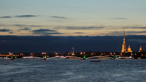 Trinity Bridge at night Stock Video Footage