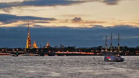 Pleasure boats on Neva River near the fortress Stock Video Footage